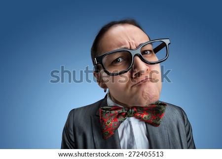 Strange nerd-girl - stock photo