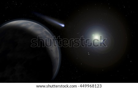 Strange worlds and planets and moons. Distant galaxies and universes rendering and 3D illustration .