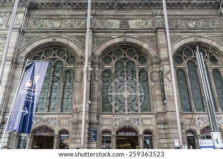 STRASBOURG, FRANCE - DECEMBER 21, 2014: Gare de Strasbourg, the main railway station of Strasbourg city, Alsace region, France. View of original building under the modern glass canopy. - stock photo