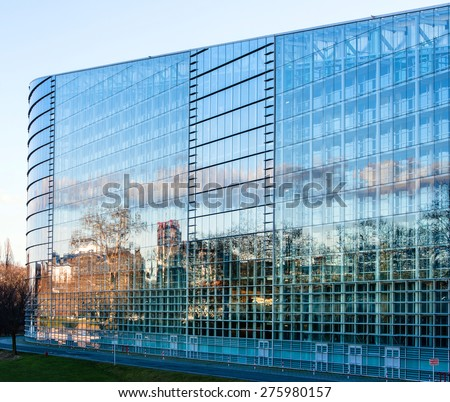 STRASBOURG, FRANCE - JANUARY 28, 2014: East Facade of the  European Parliament with the plenary room behid in Strasbourg, France - stock photo