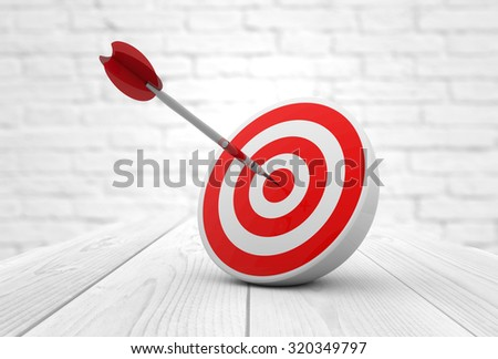 strategic business solutions or corporate strategy concept: digital generated dart in the center of a red target, modern wooden and bricks background.  - stock photo