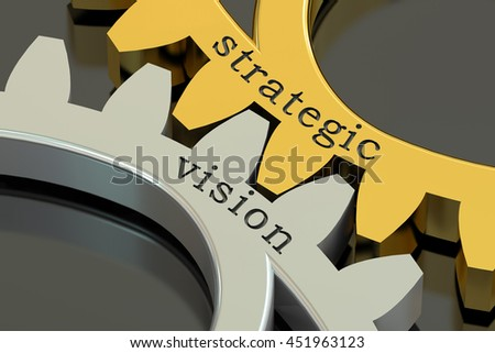 Strategic Vision concept on the gearwheels, 3D rendering - stock photo
