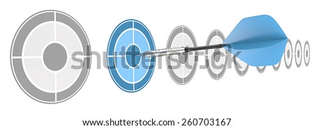 Strategical. Horizontal row of targets. Blue dart hitting target.  - stock photo