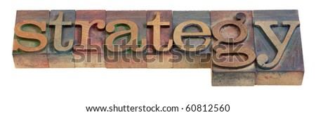 strategy - a word in vintage wooden letterpress printing blocks, isolated on white - stock photo