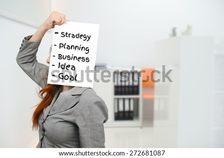 Strategy at work concept. Business woman stressed being to busy in office.  - stock photo