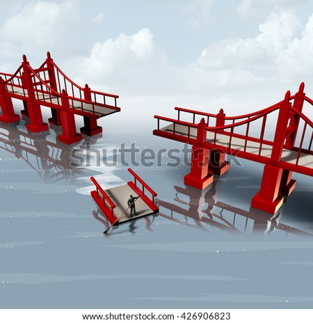 Strategy change and contingency plan as a businessman using part of a bridge as a floating barge to set a different path as a business planning metaphor with 3D illustration elements. - stock photo