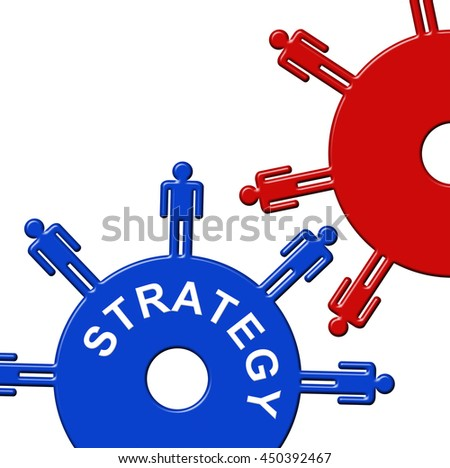 Strategy Cogs Showing Gear Wheel And Gearbox - stock photo