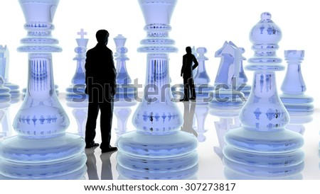 Strategy concept. Two business men playing chess. - stock photo