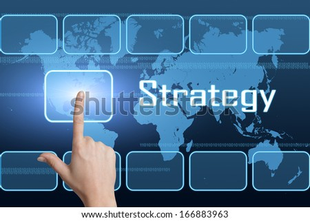 Strategy concept with interface and world map on blue background - stock photo