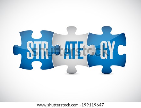 strategy puzzle pieces illustration design over a white background - stock photo