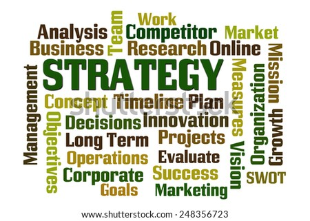 Strategy word cloud on white background - stock photo