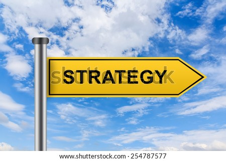 strategy words on yellow road sign on blue sky - stock photo