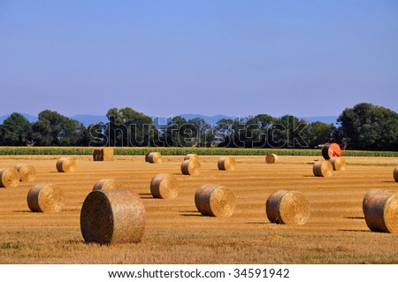 Straw bales in fall - stock photo