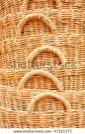 Straw baskets on market in cambodia - stock photo