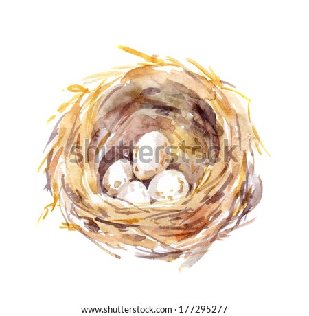 Straw birds nest with eggs - watercolor hand painting - stock photo
