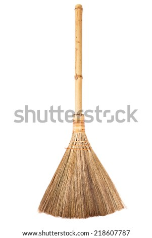 Straw broomstick isolated on white background - stock photo
