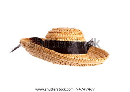 Straw hat against a white background - stock photo