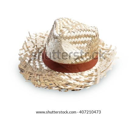Straw Hat Isolated on white background,weave hat. - stock photo