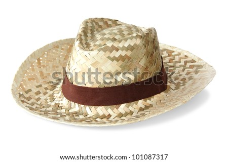 Straw hat on white background - stock photo