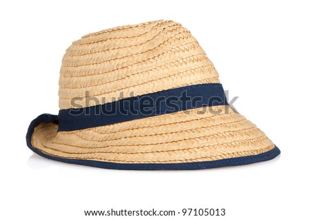 Straw hat with blue ribbon on white background. - stock photo