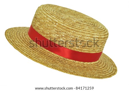 Straw Hat with red ribbon - stock photo