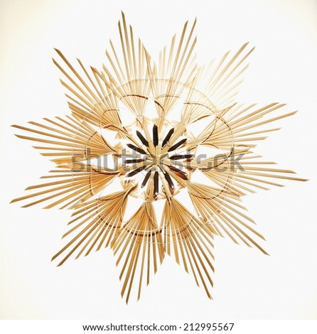 Straw star for christ mas. - stock photo