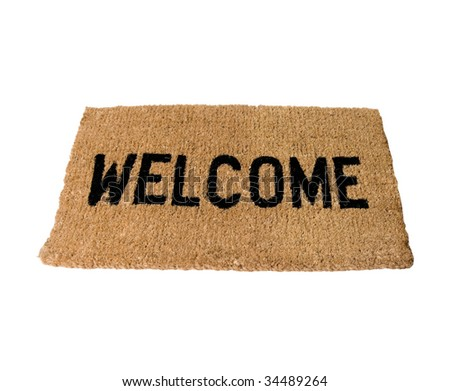 Straw welcome mat - stock photo