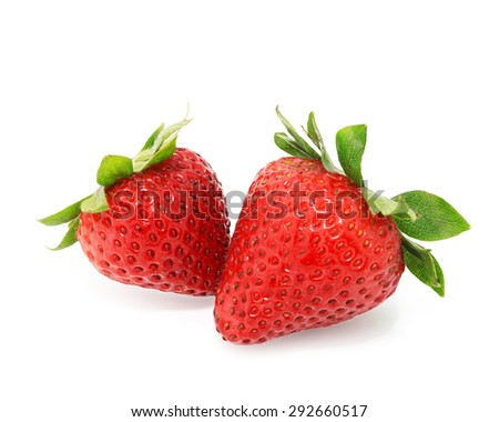 Strawberries berry isolated on white background.This has clipping path.  - stock photo