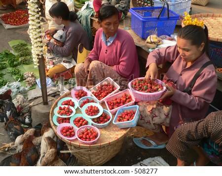 Strawberries & Chickens For Sale Myanmar (Burma) - stock photo