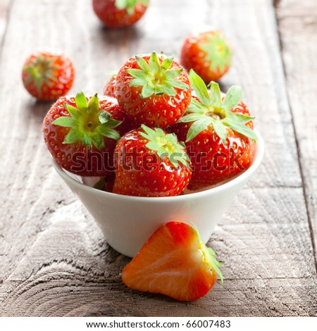 Strawberries in a Bowl - stock photo