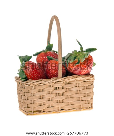 Strawberries in a small basket isolated over a white background / Strawberries - stock photo