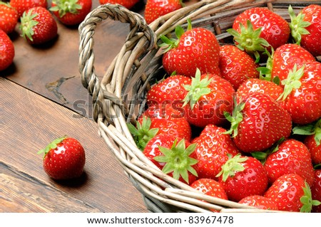 Strawberries in basket - stock photo