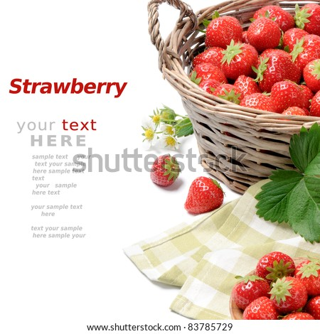 Strawberries in basket over white - stock photo