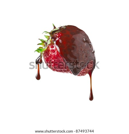 strawberries in chocolate syrup dessert close up isolated on white ...