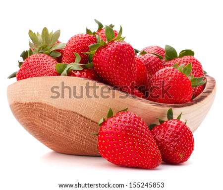 Strawberries in wooden bowl isolated on white background cutout - stock photo