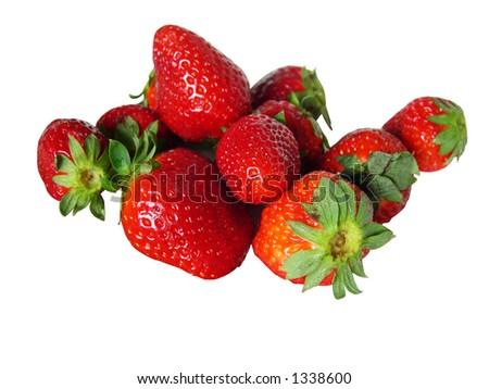 strawberries isolated - stock photo