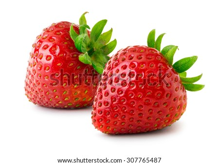 Strawberries isolated on white background. - stock photo