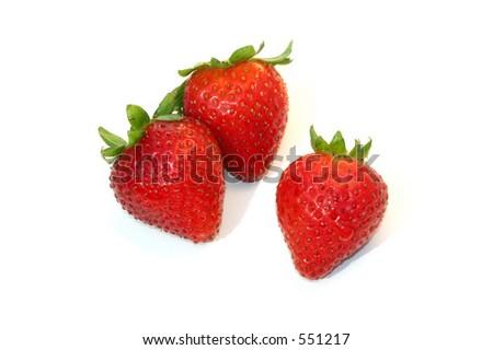Strawberries on white background, - stock photo