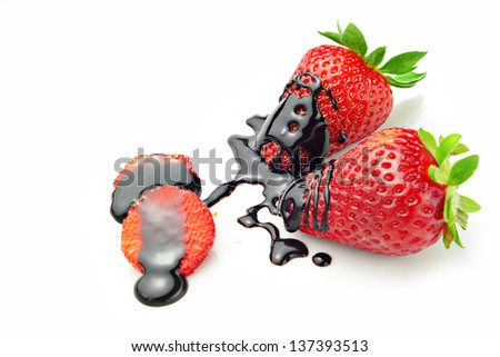 strawberries with chocolate - stock photo