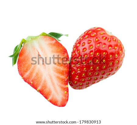 Strawberries with leaves on a white background - stock photo