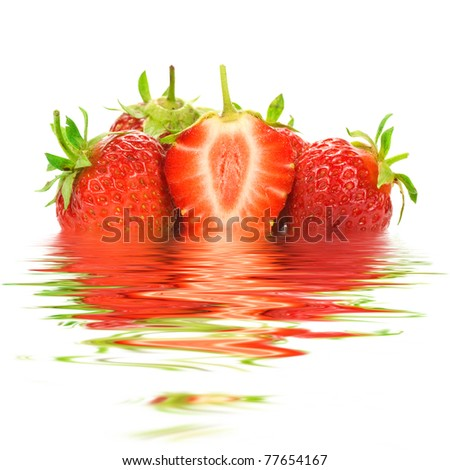 strawberries with water reflection on white background. - stock photo