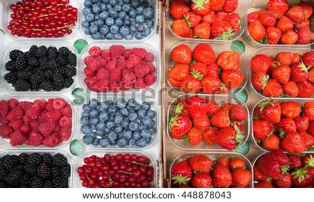 Strawberry and blueberry - stock photo
