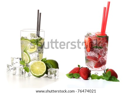 strawberry and classical mojito cocktail on white background - stock photo