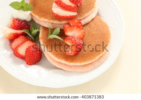 strawberry and pan cake sandwich for spring food image - stock photo