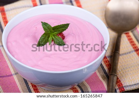 Strawberry and raspberry smoothie with cream cheese - stock photo