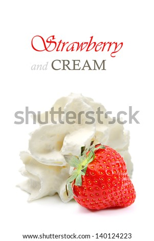 Strawberry and whipped cream - stock photo