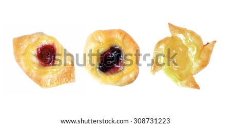 strawberry blueberry and pineapple fruit danish desserts isolated on white background  - stock photo