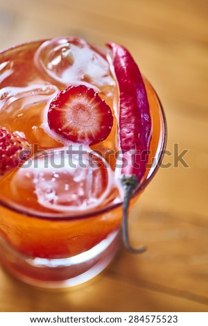 Strawberry Caipirinha with pepper  of Brazil                                - stock photo
