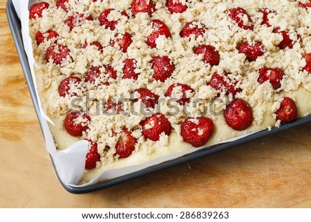 Strawberry cake with streusel (a crumbly topping of flour, butter, and sugar).  - stock photo