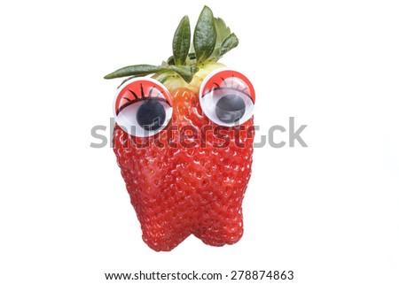 Strawberry cartoon with eyes isolated on white background - stock photo